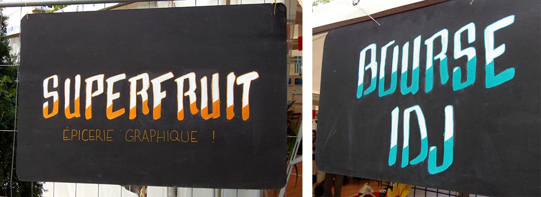 photographies des sign painting réalisés par superfruit pour le printemps de la jeunesse