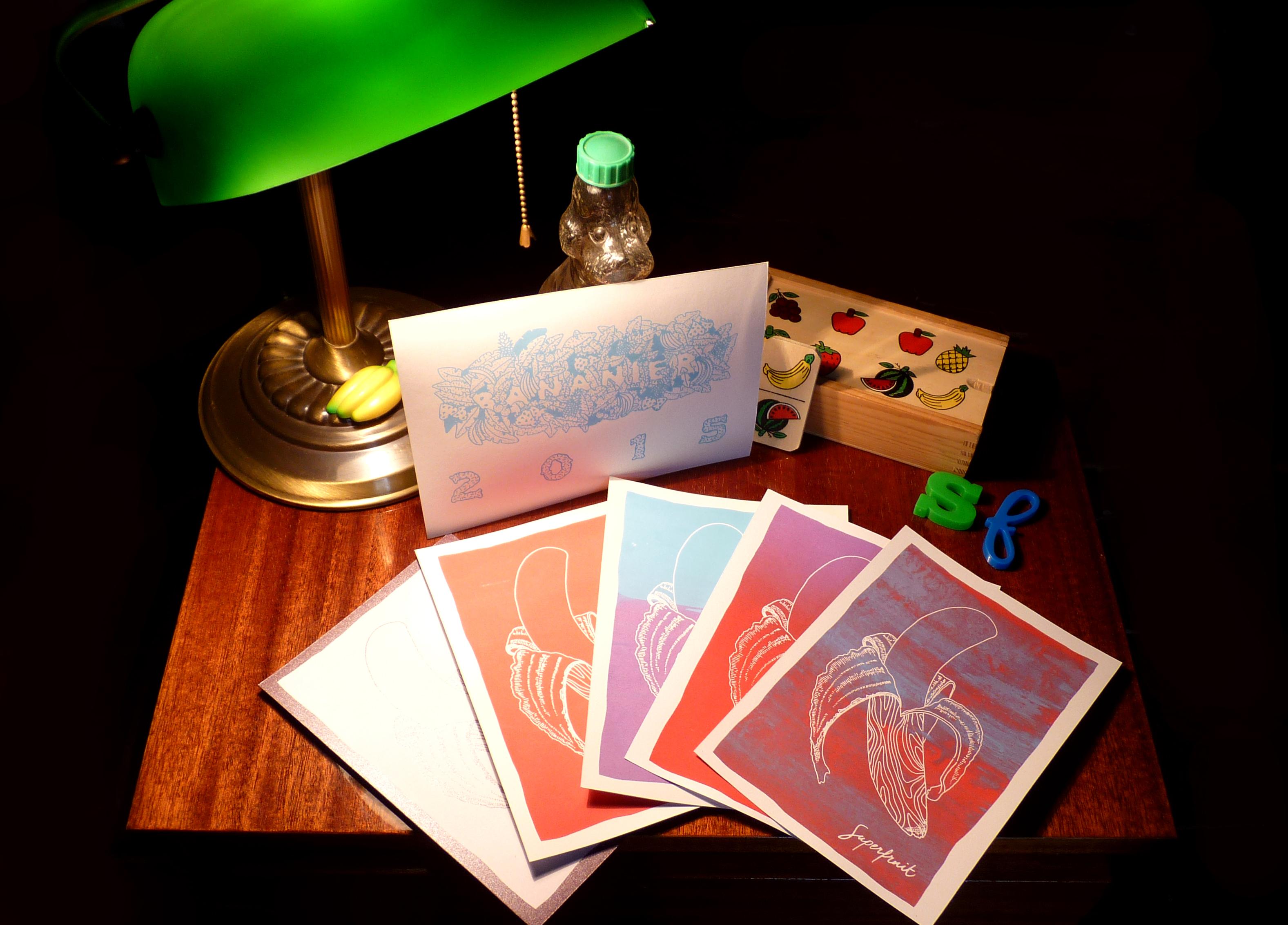 photographie des cartes de voeux 2015 du collectif superfruit