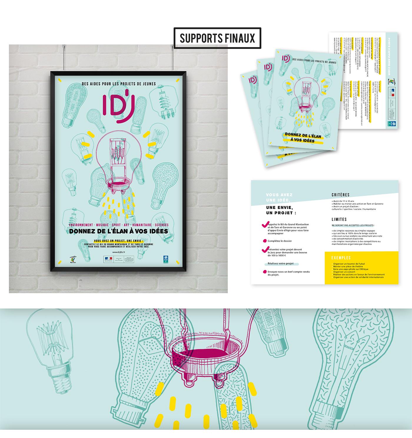 Mockup des creations visulles realisees pour l'identite de idj