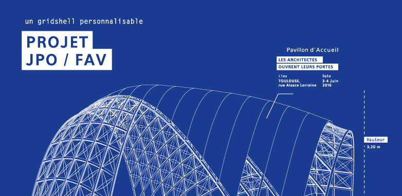 Illustration filaire gridshell Quaternion poster blue print Superfruit