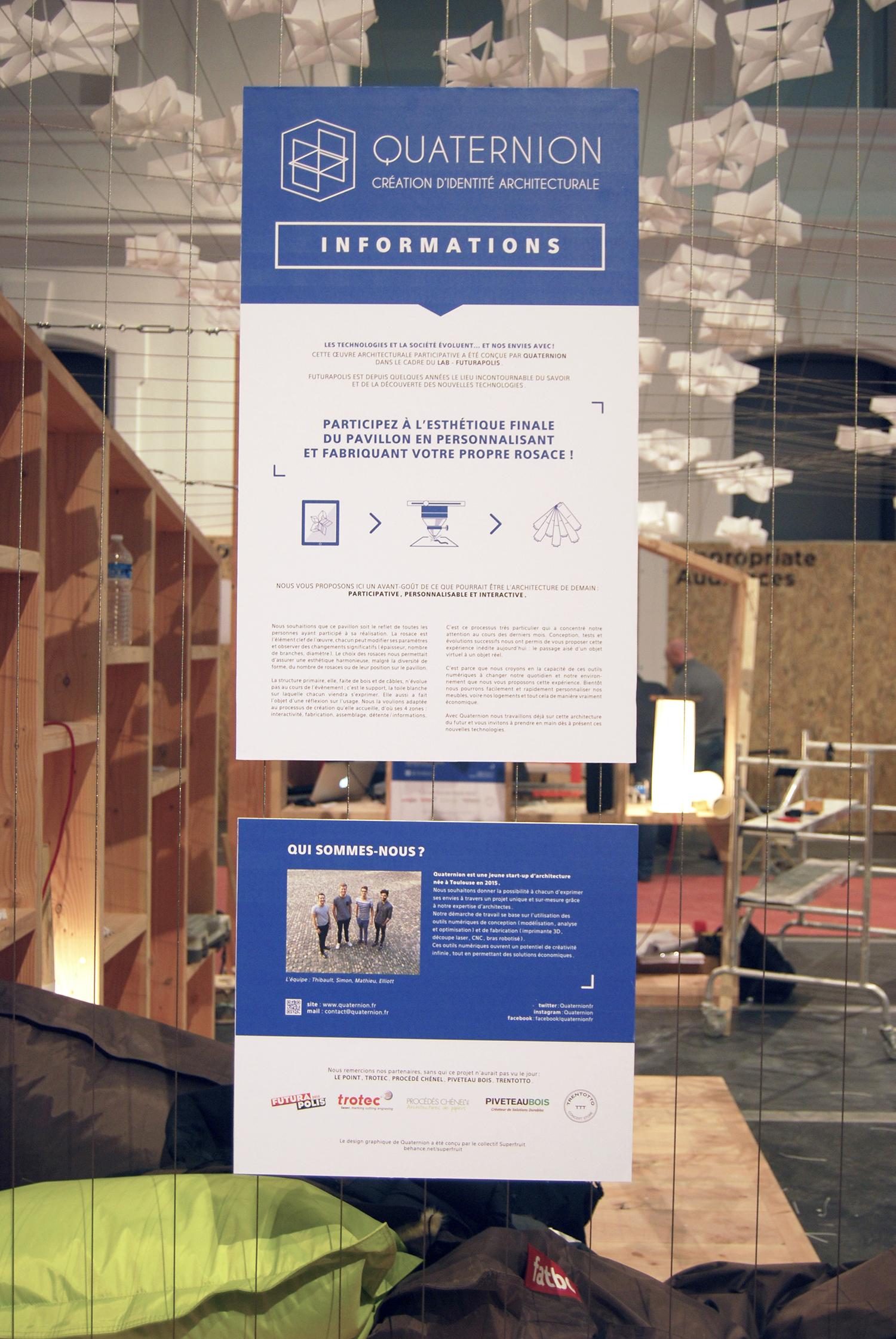 Panneau informations au stand Quaternion à Futurapolis 2015