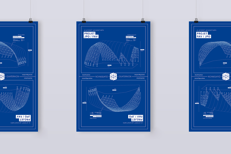 Poster cadeau Ulule gridshell Quaternion en style blue print architecte par Superfruit.