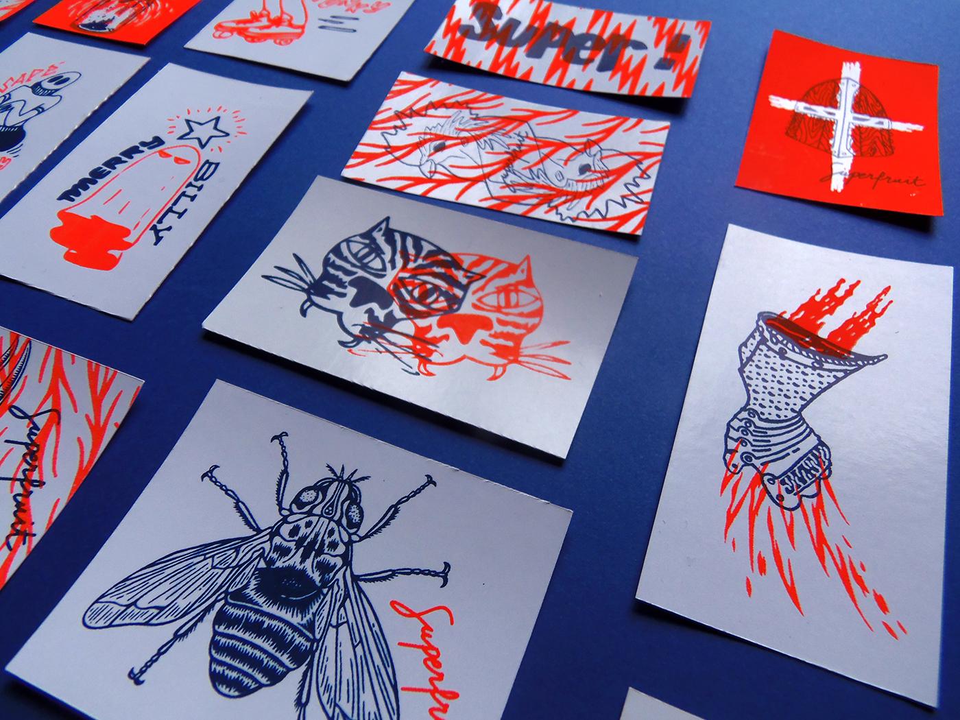 Détails des stickers 2017 imprimés en sérigraphie par Superfruit
