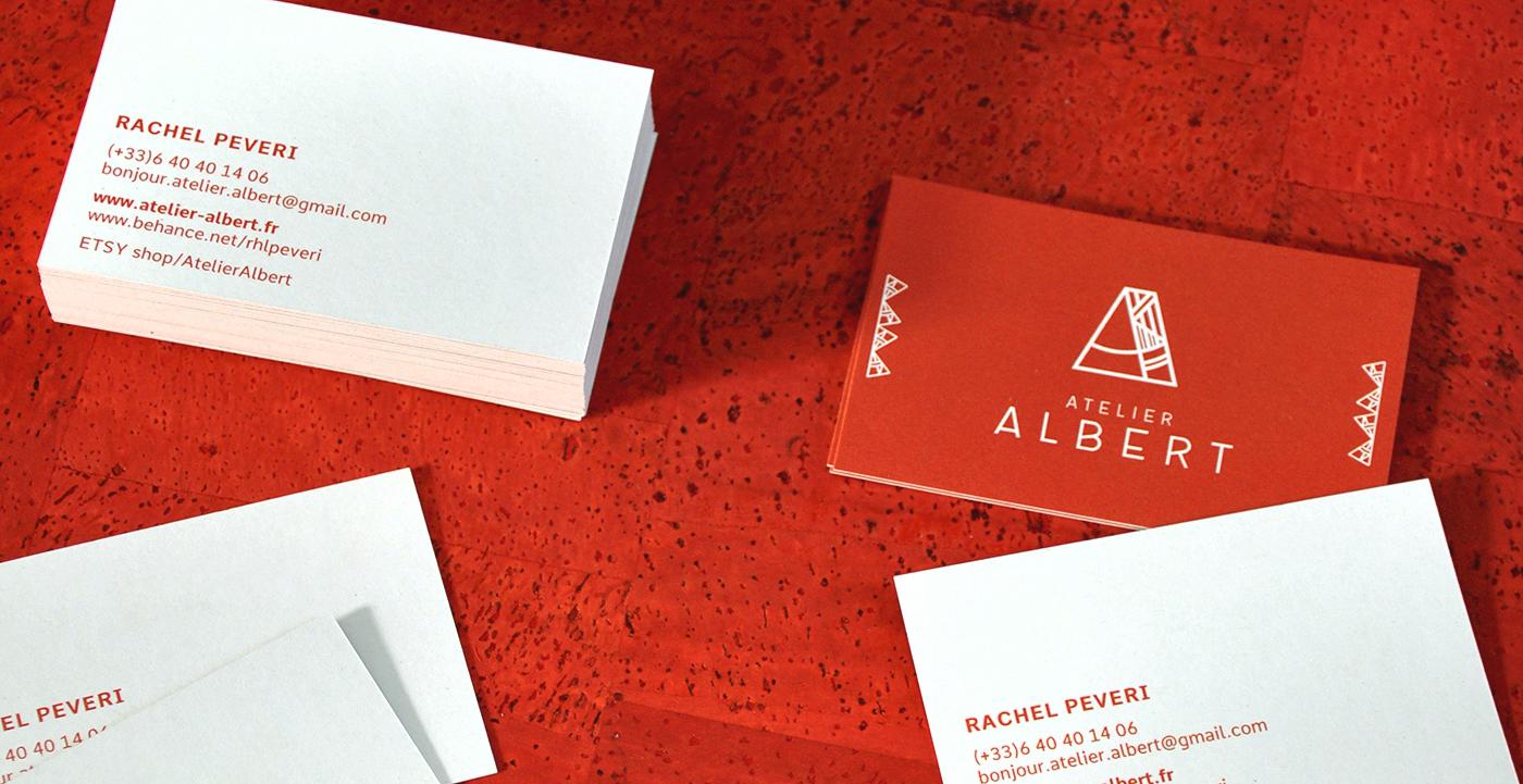 Cartes de visite réalisées pour Atelier Albert par Superfruit