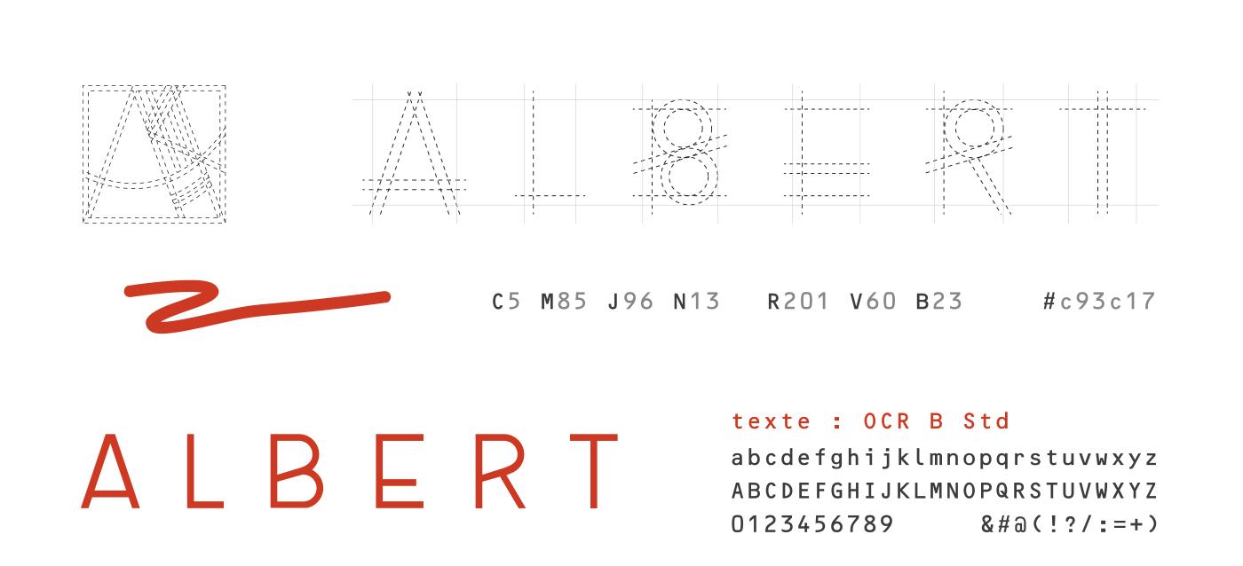 Charte graphique d'Atelier Albert réalisée par Superfruit. structure du logo, typographie utilisée et couleur de l'identité