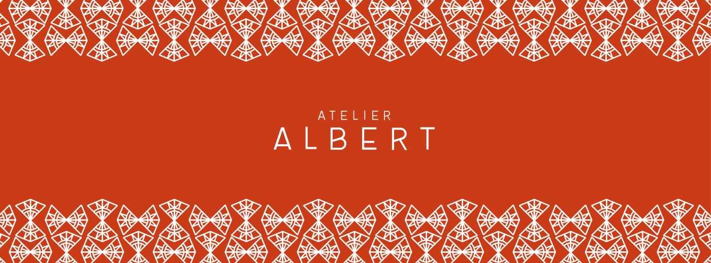 Déclinaison du logo Atelier Albert conçu par Superfruit en bannière