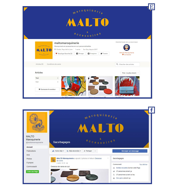 image des pages Malto présentes sur les réseaux sociaux et internet