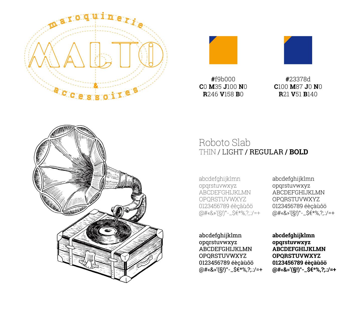 Charte graphique et illustration de gramophone de Malto créées par Superfruit