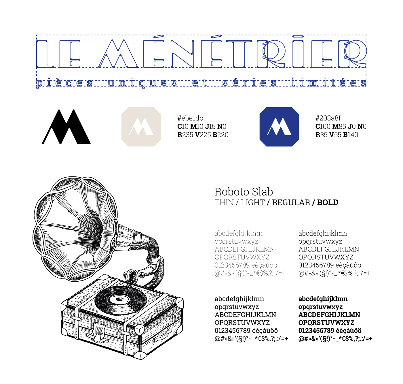 Détail de la conception du logo Le Ménétrier : typographies, couleur et illustration