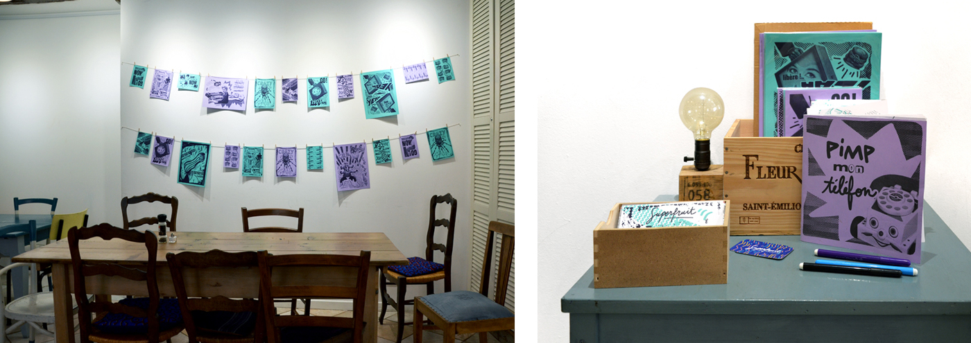 Photos de l'exposition Réclame Pas de Superfruit installée au restaurant la Part du Hasard.