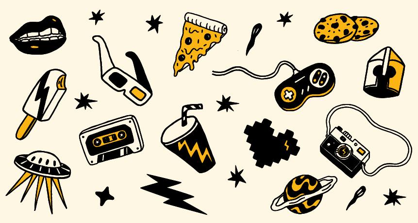 post blog : détail de la composition créée pour la Foret Electrique par Superfruit. Décomposition de l'éclair et éclaté de tous les éléments d'illustration. Robot, pizza, soda, borne d'arcade, soucoupe volant, heaume de chevalier...