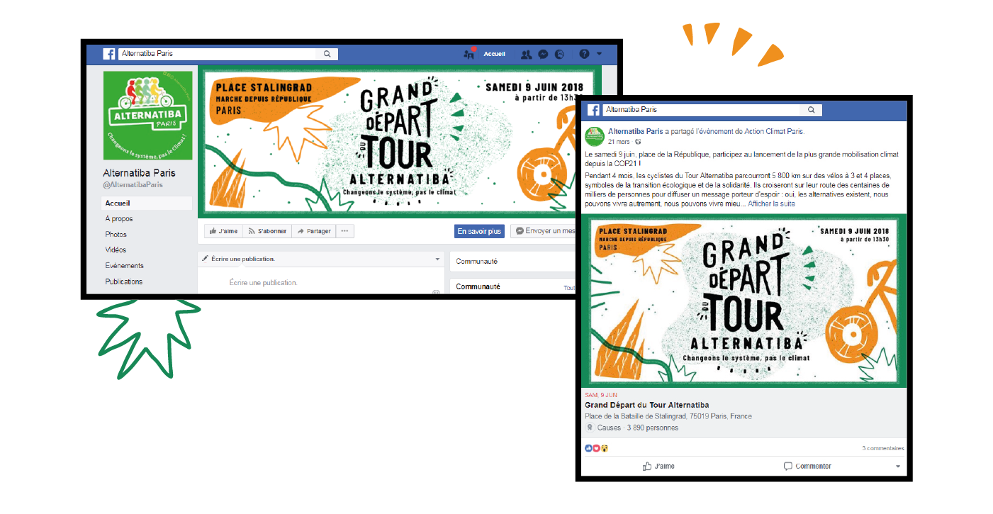 Habillage facebook pour le Tour Alternatiba par le collectif Superfruit, photos de profil et de couverture.