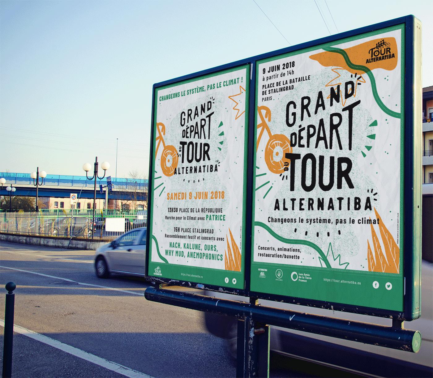 Mockup affiche pour le Tour Alternatiba par Superfruit, borne citadine.
