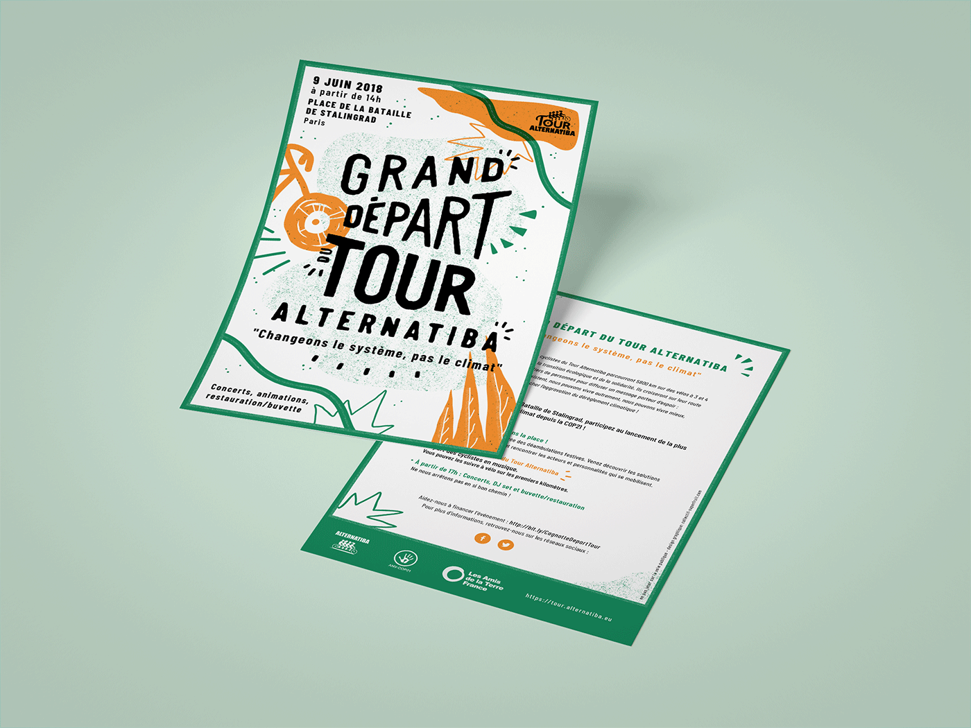 Flyers recto / verso pour le Tour Alternatiba par le collectif Superfruit.