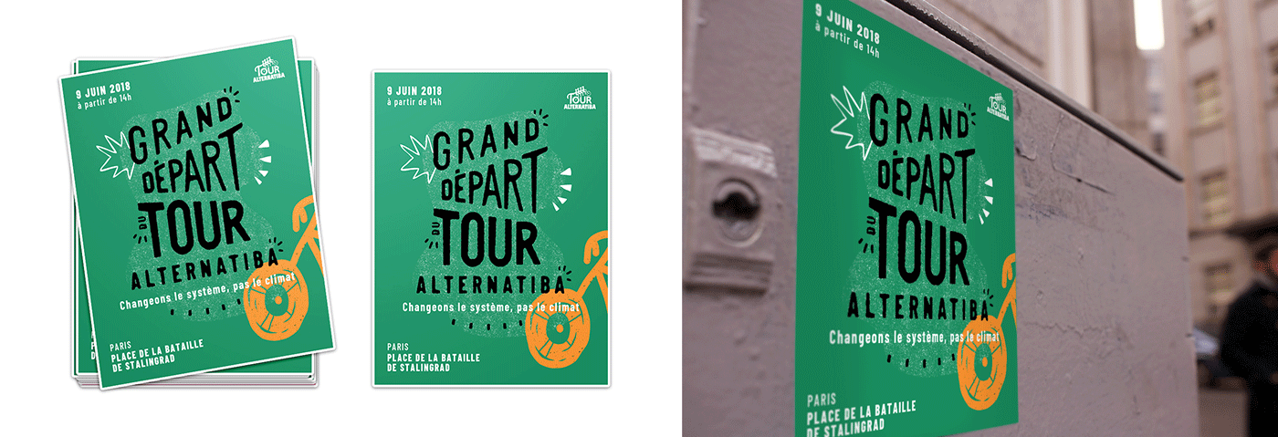 Mockup des stickers du Tour Alternatiba par le collectif Superfruit.