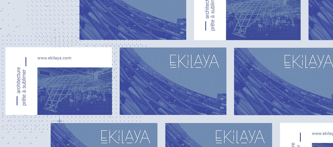 Ensemble recto/verso de cartes de visite Ekilaya sur fond bleu avec motifs