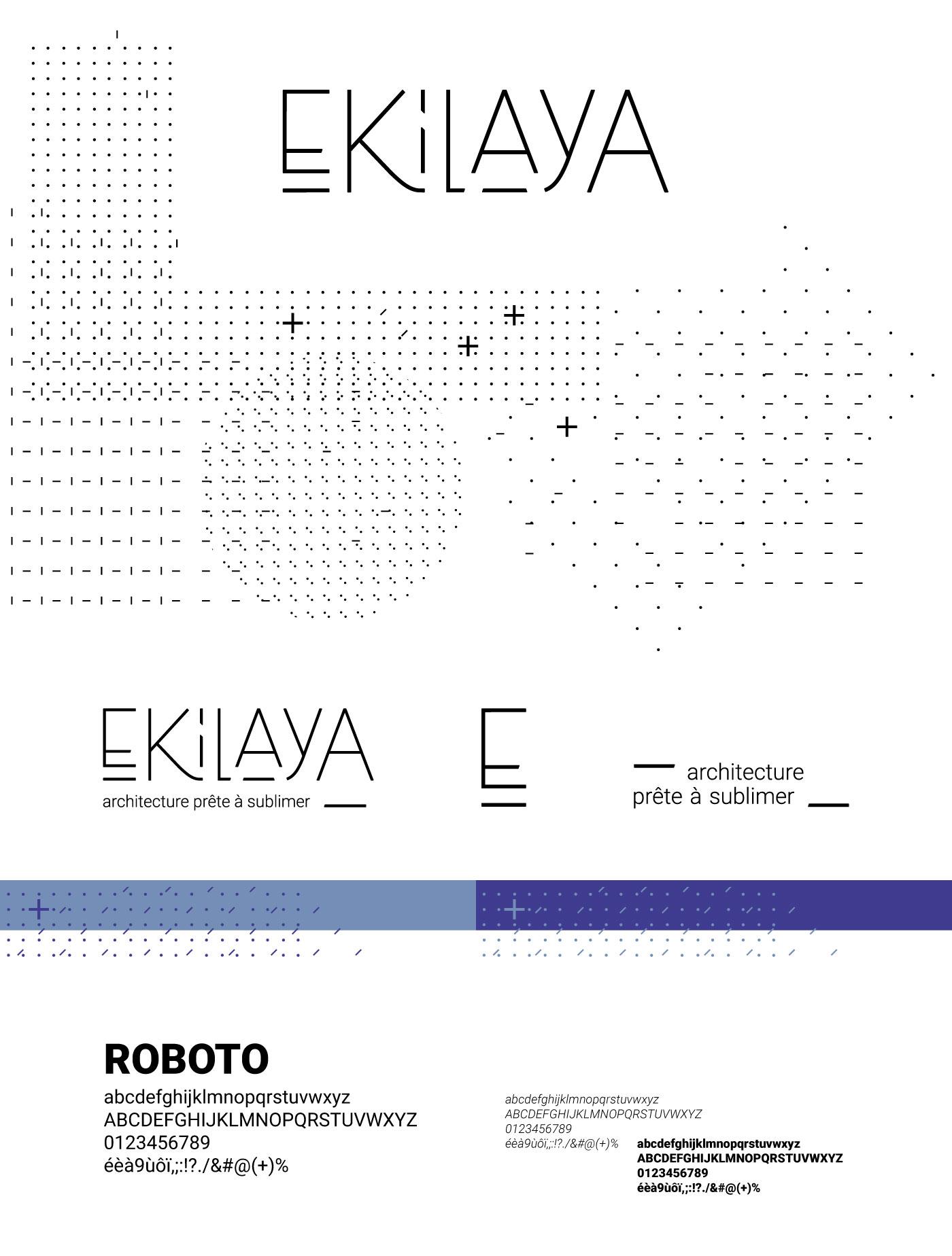 Détails du logo Ekilaya : motif, couleur et typographie