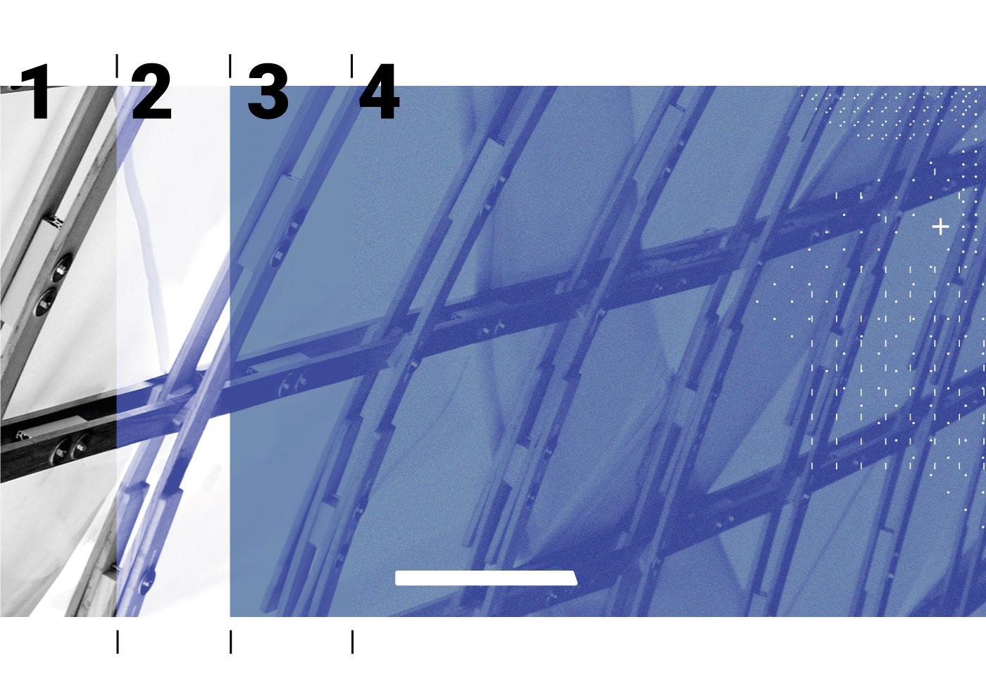 étapes du traitement photo spécial Ekilaya de 1 à 4 : du noir et blanc à la couleur bleue, grain et motifs