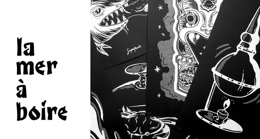"""Ensemble de poster sérigraphiés avec titre typographique """"La Mer à Boire"""""""