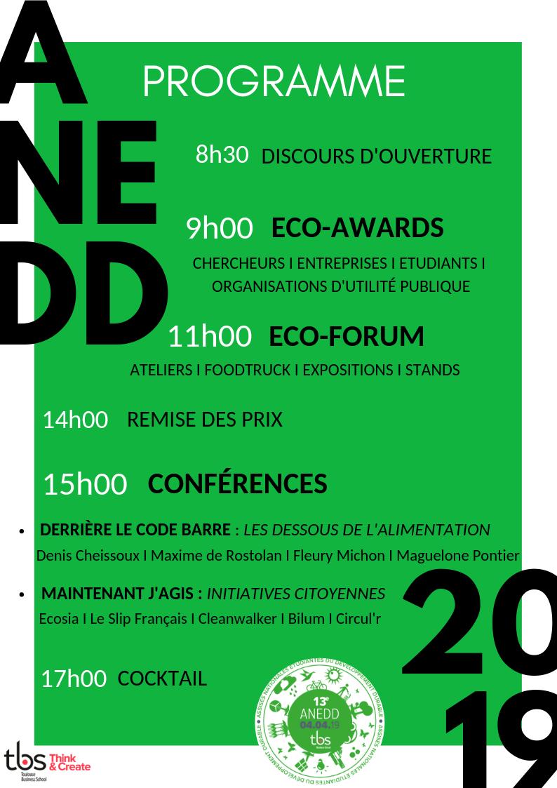Programme complet des ANEDD 2019 à la Toulouse Business School en couverture des news