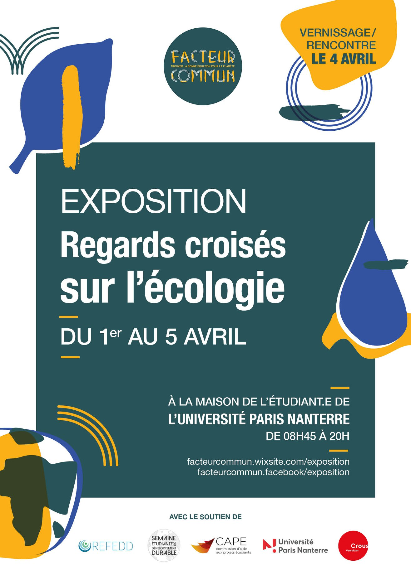 """Affiche de l'exposition """"Regards Croisés sur l'Écologie"""" du 1er au 5 avril à l'université Paris Nanterre"""