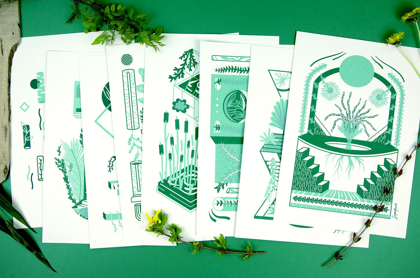 """""""Chloroville"""" collection : toutes les sérigraphies sur le thème de l'urbain et des plantes"""
