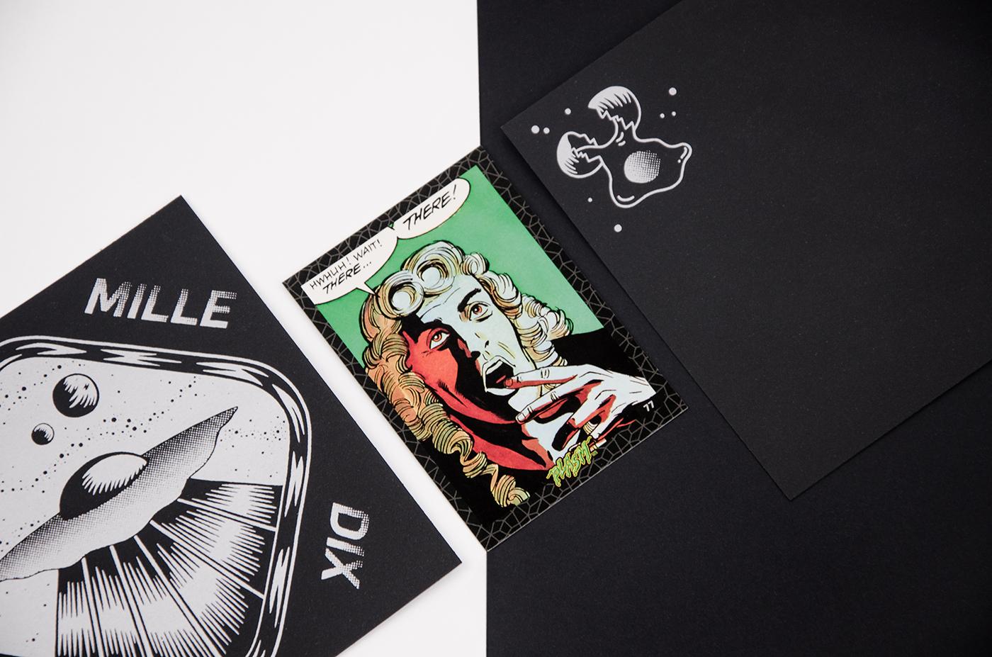 Composition photographique avec les cartes de vœux 2019 et une carte à collectionner