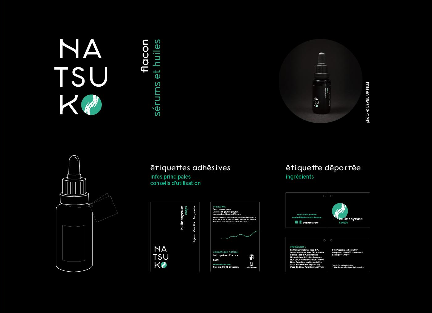 Présentation de la construction du packaging des étiquettes des flacons sérums et huiles de la gamme des soin Natsuko.