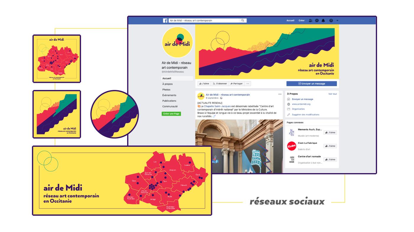 Visuels réseaux sociaux Facebook et instagram basés sur le design de la carte postale conçue pour Air de Midi réseau art contemporain en Occitanie créée par Superfruit