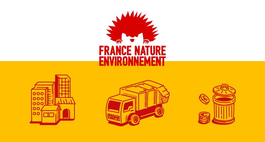 Visuel avec le logo France Nature Environnement et 3 pictogrammes illustrant leur dossier sur la taxe incitative pour le traitement des déchets en ville.