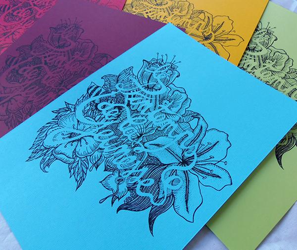 thumbnail impressions en sérigraphie du printemps de la jeunesse fleurs typographie et couleurs
