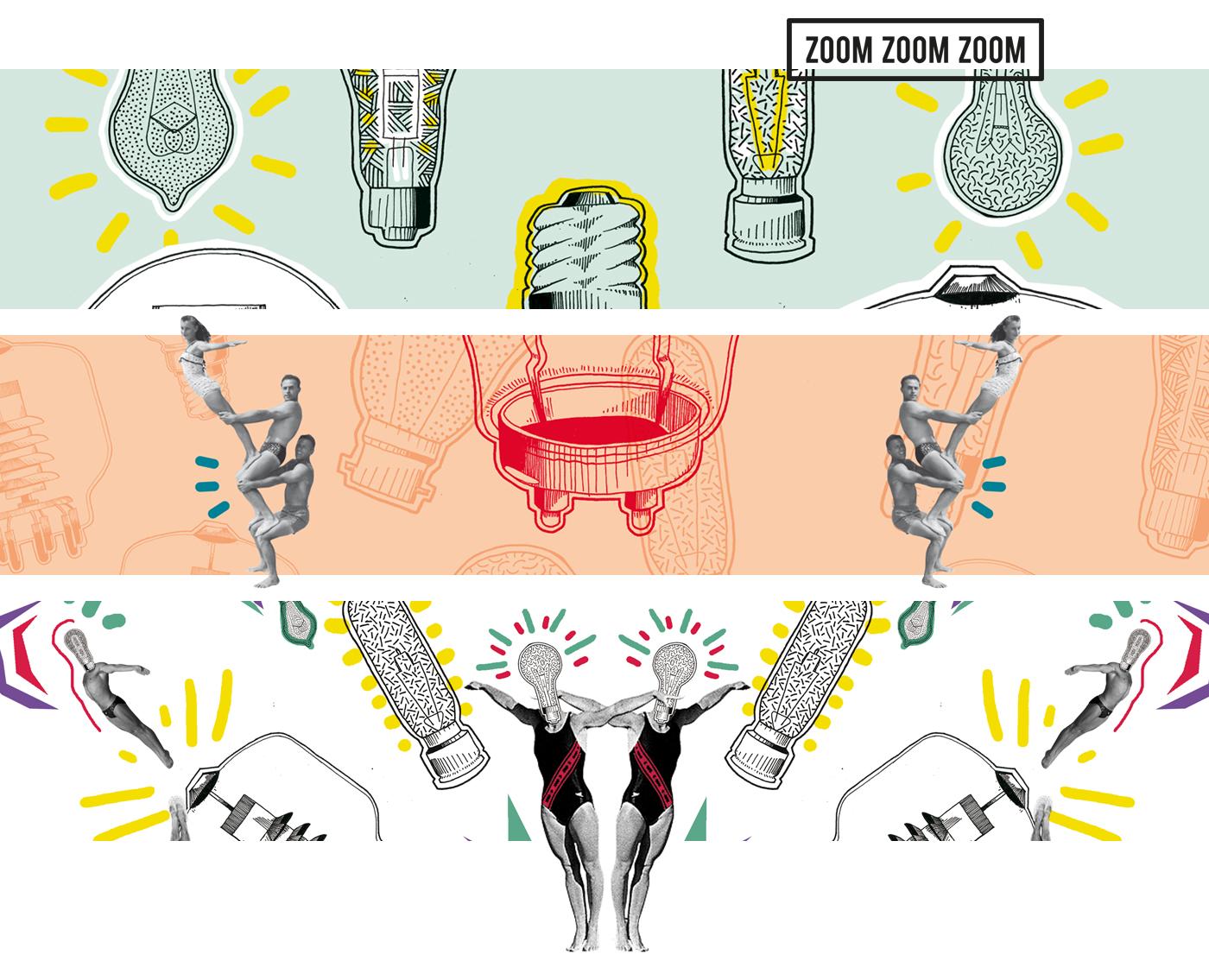 Zoom sur l'aperçu des créations visuelles pour l'affiche IDJ. Ampoules, gymnastique, couleurs...