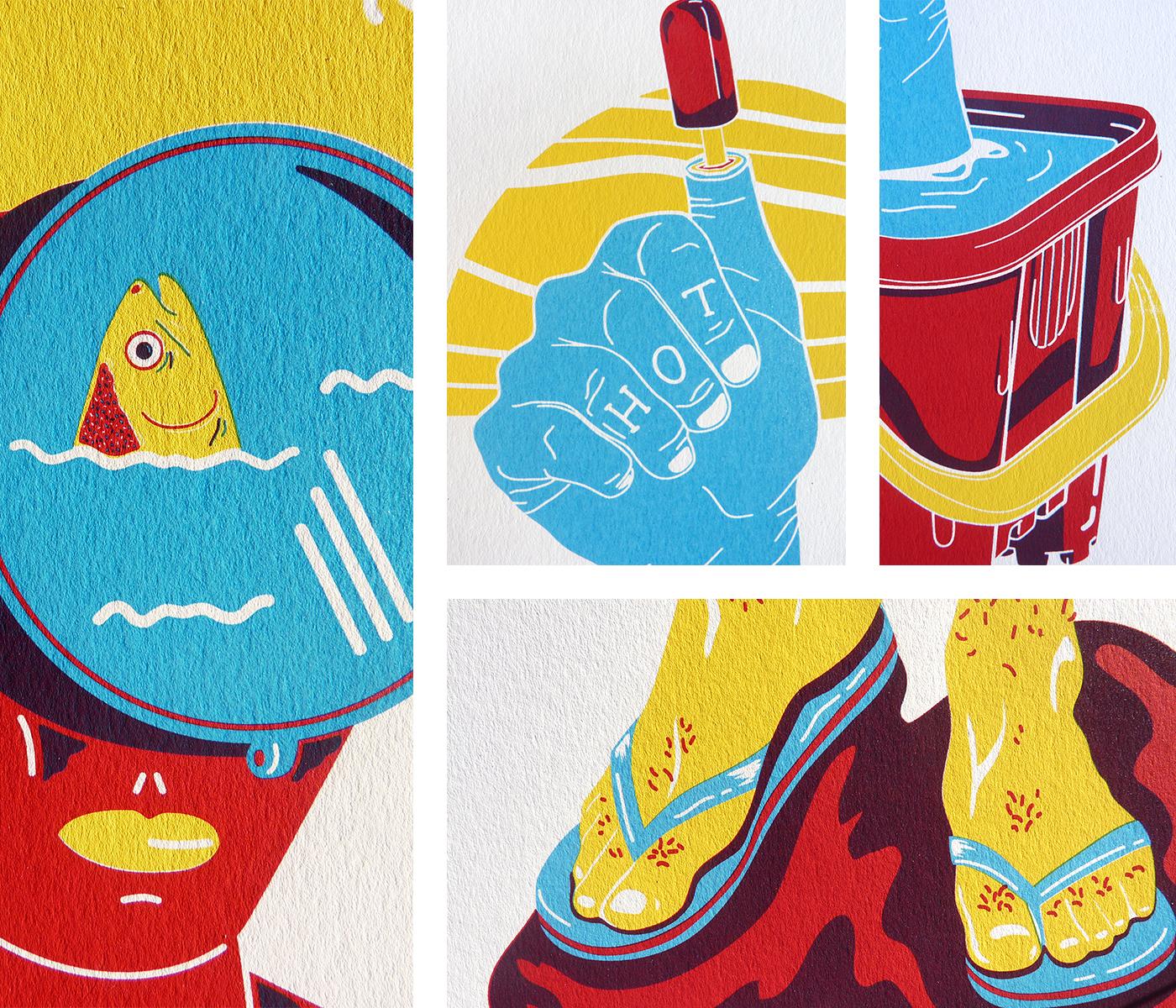 Détails des affichettes sérigraphiées de la collection Trempette de sable. Masque de plongée, pouce, tongs, pieds dans l'eau, glace, seau de plage.