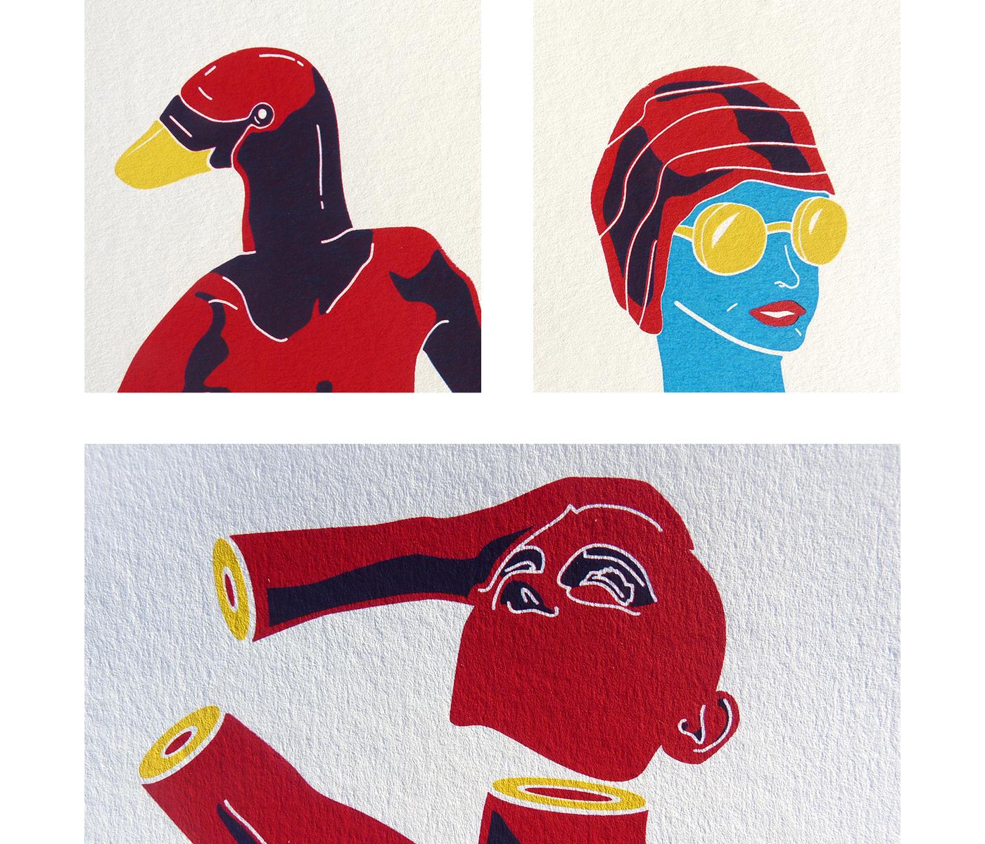 Détails des affichettes sérigraphiées de la collection Trempette de sable. Duckface, statue, Vénus, baigneuse avec lunettes et bonnet de bain.