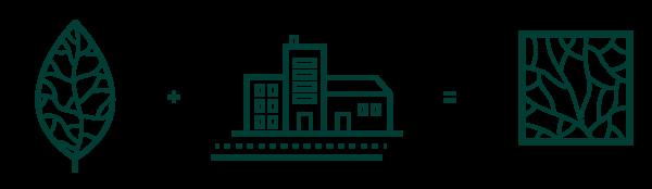 Détail de l'élaboration du logotype d'Akebia Ecosystèmes : Feuille avec nervures plus batiments urbains
