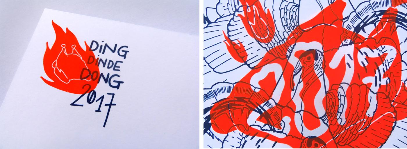 Détails de la carte de voeux 2017 recto verso imprimée en sérigraphie par Superfruit