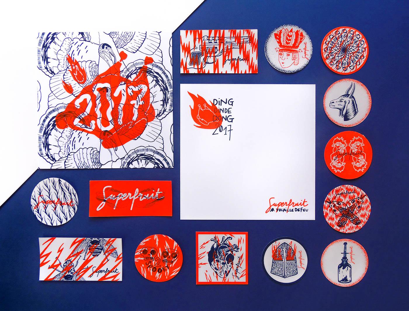 Photo ensemble des cartes de voeux 2017 et des stickers pour le FIST réalisés par Superfruit