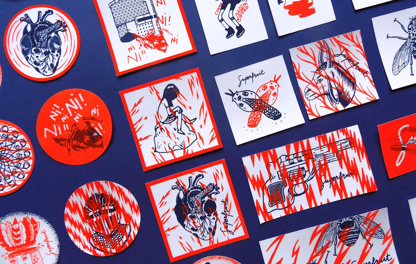 Photo détail des stickers Superfruit réalisés en 2017 pour le FIST Toulouse