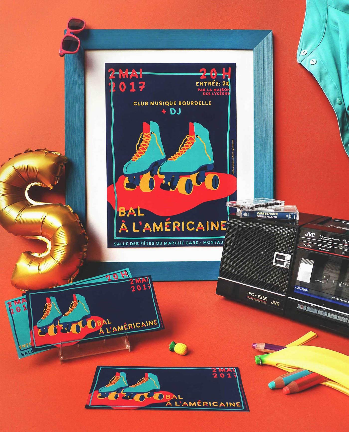 Mise en situation des affiche et flyers du lycée Bourdelle pour la soirée bal à l'américaine réalisés par Superfruit