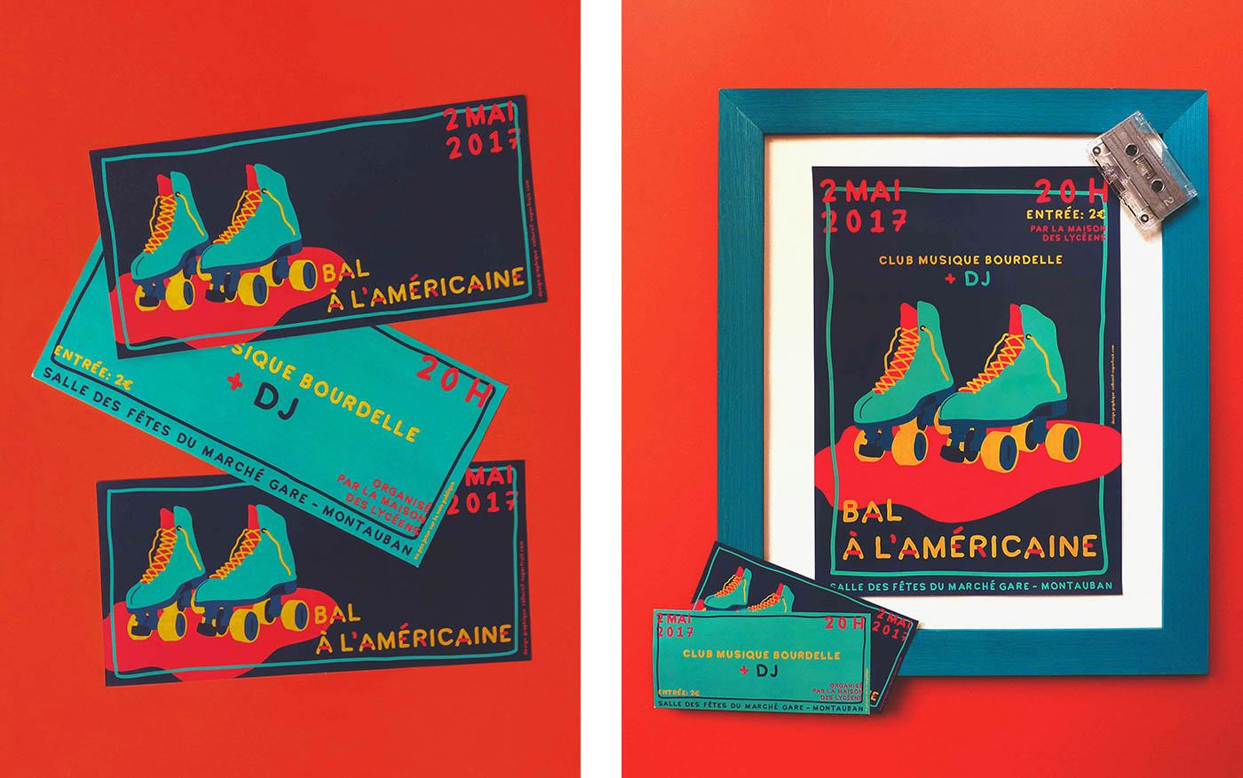 Affiche et flyer du lycée Bourdelle pour la soirée bal à l'américaine réalisés par Superfruit