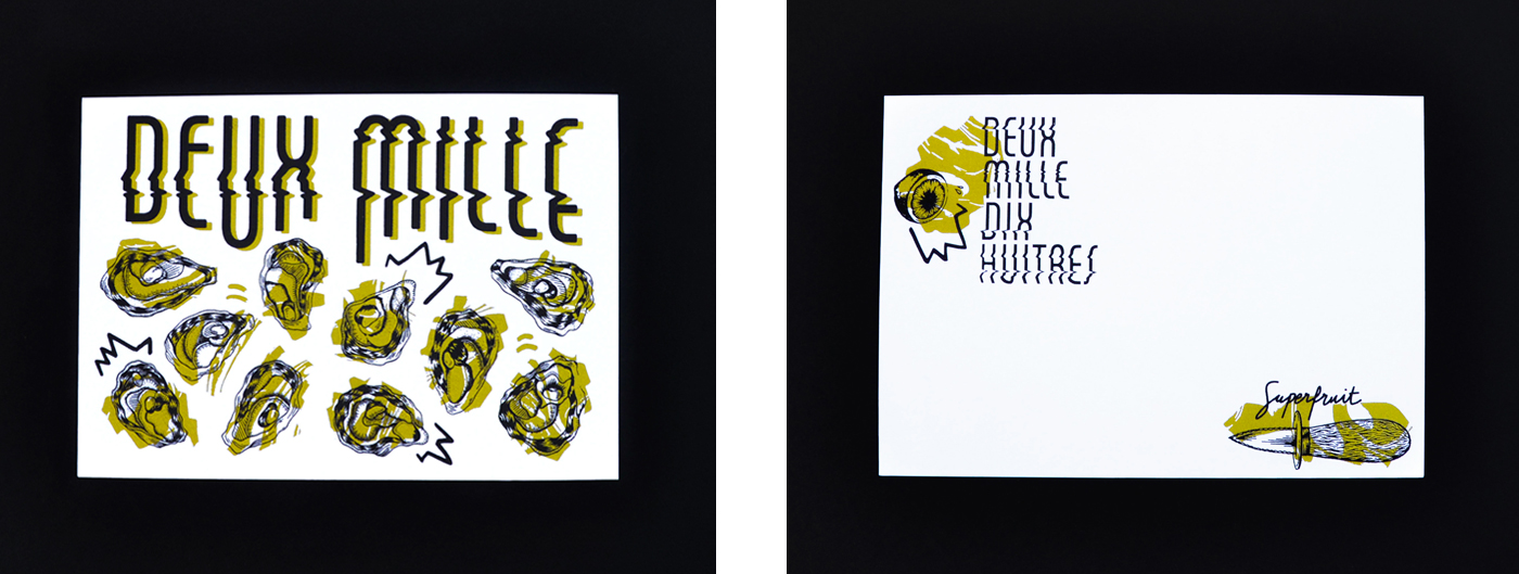 Photo recto-verso des cartes de voeux 2018 imprimées en sérigraphie par Superfruit. Travail typo, huitres, couteau à huitres, citron et marbrures dorées