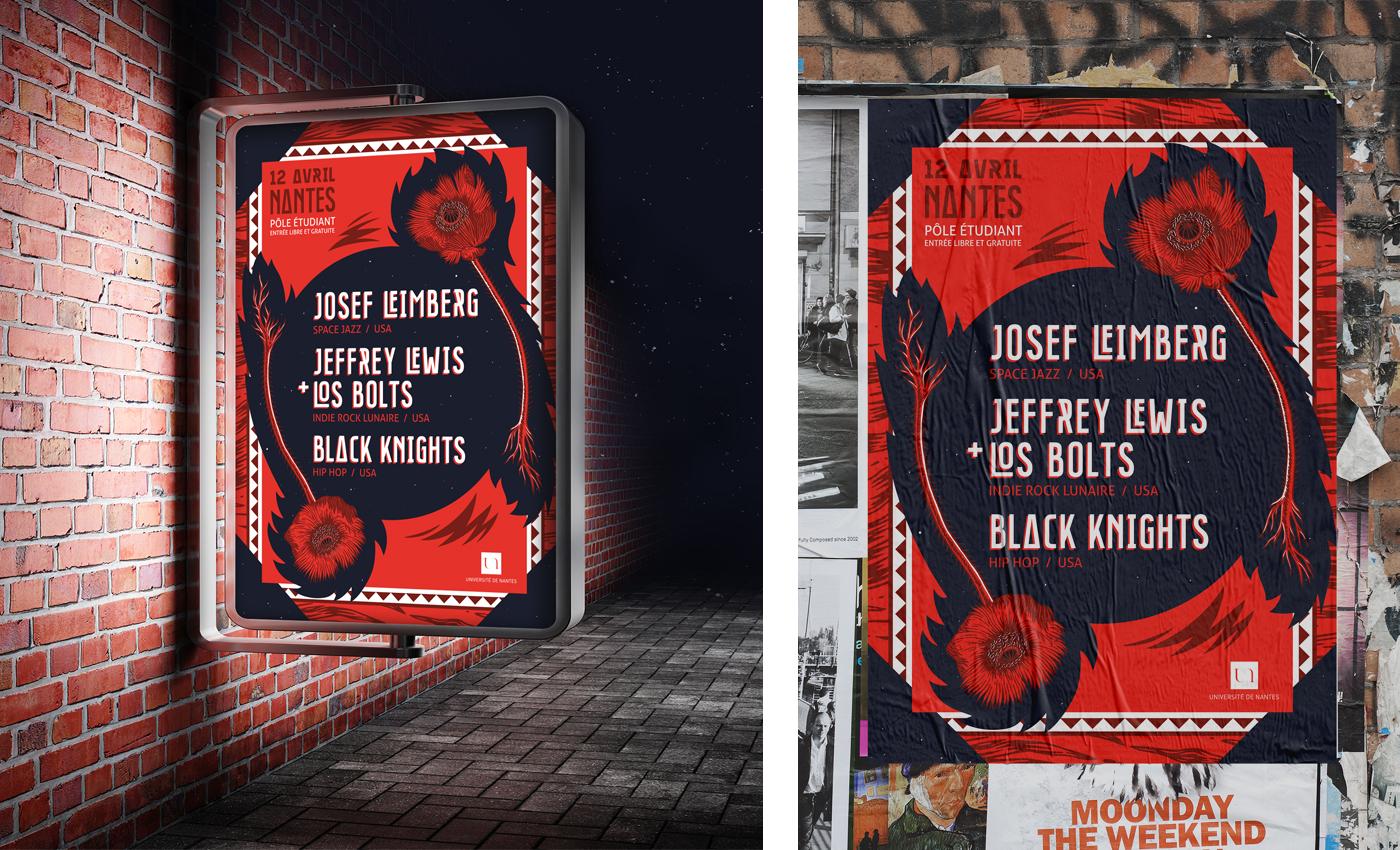 Simulation de l'affichage du poster réalisé par Superfruit pour la soirée de concerts organisée par le pole étudiant de l'université de Nantes. Visuel galactique rouge et bleu