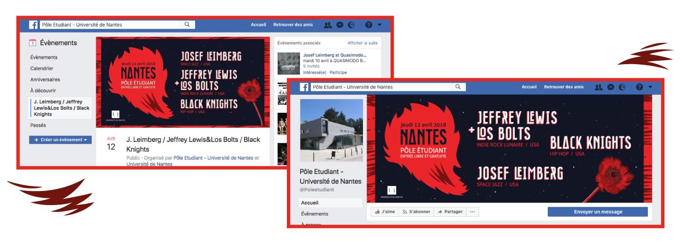 Détail des visuels réalisés pour le pole étudiant de l'université de Nantes déclinés sur les réseaux sociaux. Illustration créée par Superfruit, visuel galactique rouge et bleu