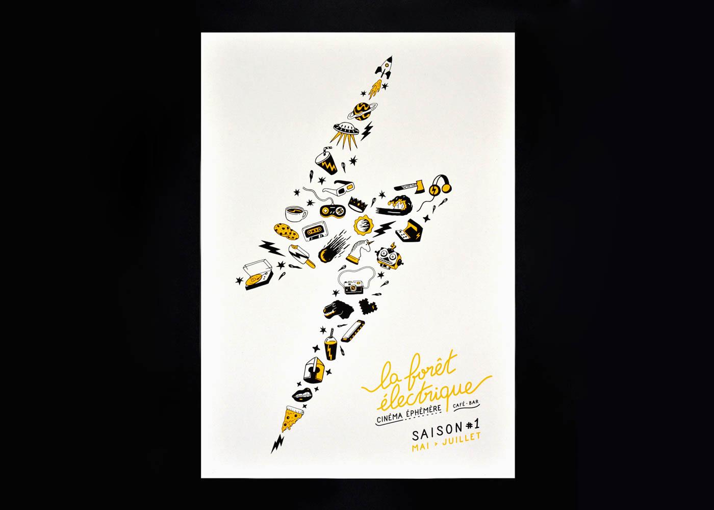 Photo de l'affiche A3 de la saison 1 de la Foret Electrique. Visuel et impression en sérigraphie par Superfruit
