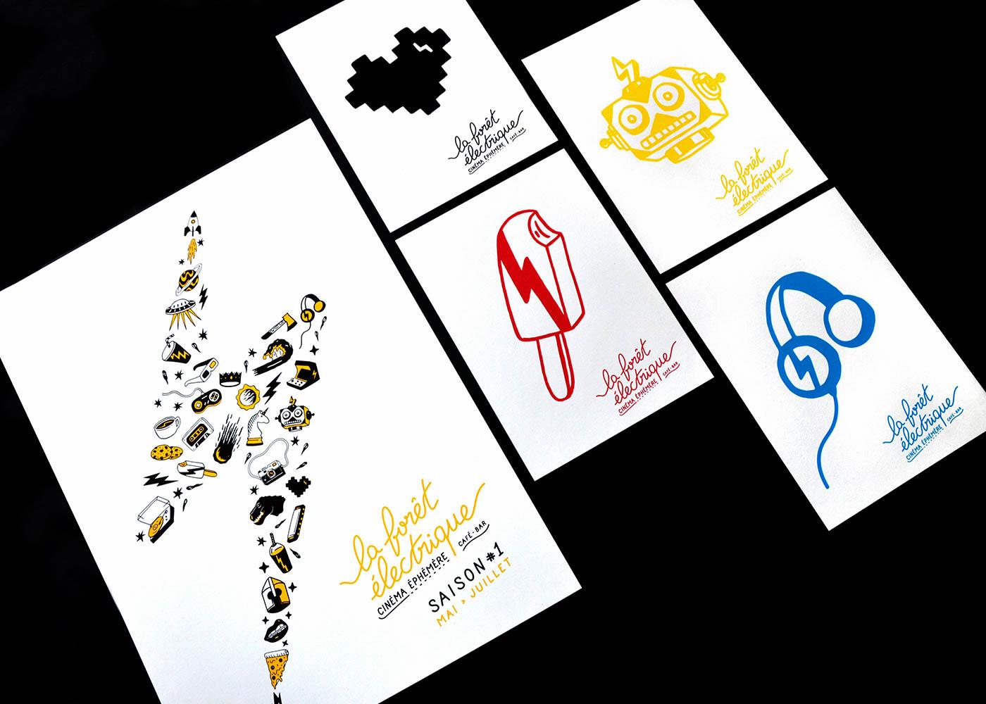 Photo d'ensemble de l'affiche A3 en 2 couleurs et des cartes A5 imprimées en sérigraphie par Superfruit pour la Foret Electrique. Quatre visuels différents : coeur, glace, casque audio et robot disponibles dans quatre couleurs.