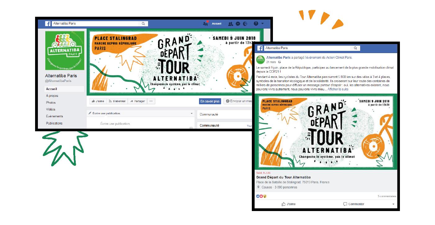 Habillage facebook pour le Tour Alternatiba par le collectif Superfruit, photos de profil et de couverture.