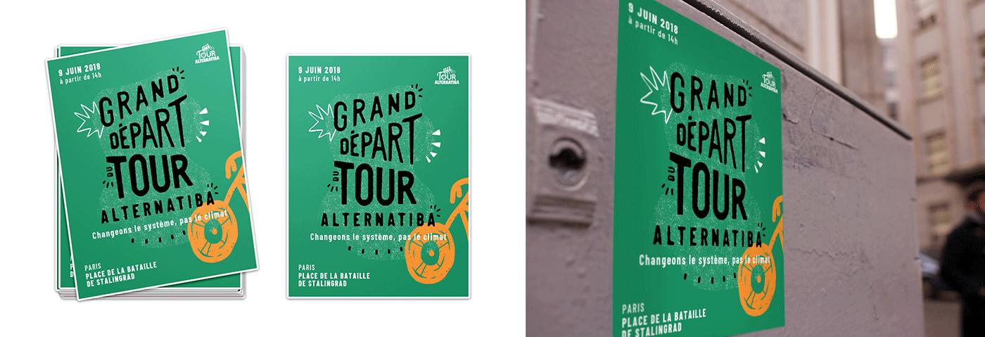 Mockup des stickers du Tour Alternatiba par le collectif Superfruit.