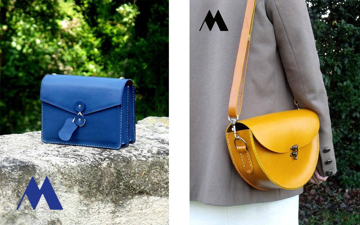 Sac à main en cuir bleu et jaune conception artisanale par Le Ménétrier