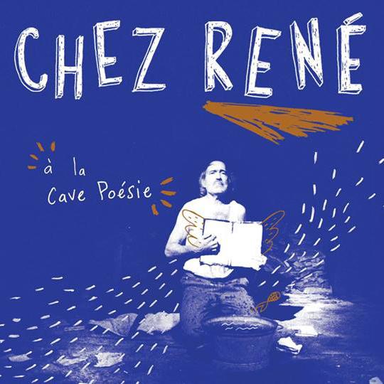 """Visuel du festival """"Chez René"""" à la Cave Poésie (Toulouse), homme tenant un livre sur fond bleu"""