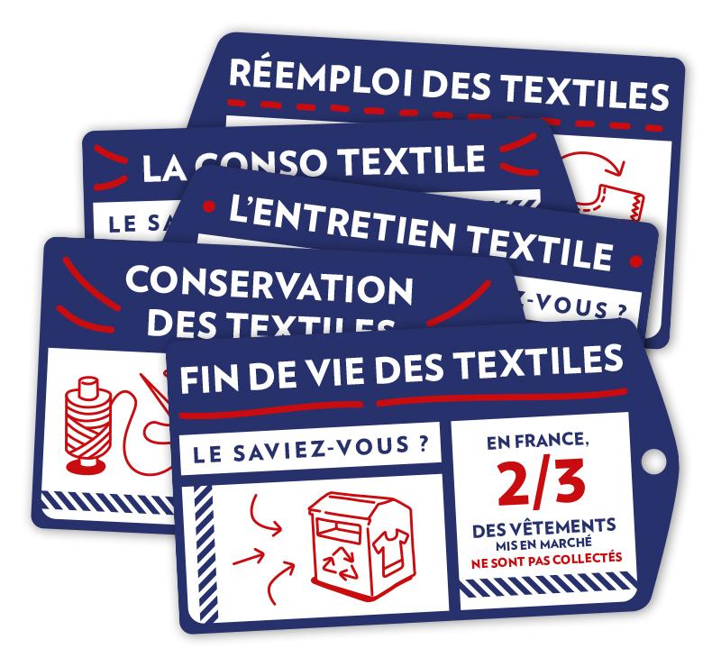 Pile d'étiquettes issues de l'affiche France Nature environnement avec borne de recyclage textile et bobine de fil
